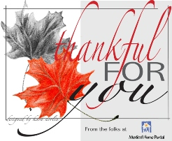 Thankful for you from the folks a Medical Home Portal with images of leaves
