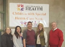 Integrated Services team standing in front of a unit banner