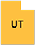 Utah state outline with yellow fill and UT initials
