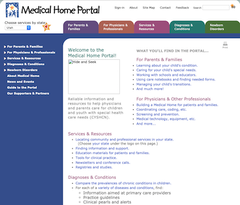 Screenshot Medical Home Portal homepage January 2010
