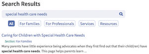 screenshot site search results for special health care needs