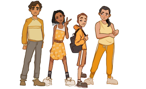 4 adolescents with a range of expressions of puberty hanging out next to each other